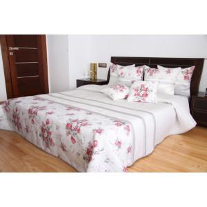 Přehoz na postel bílé barvy s motivem růží
