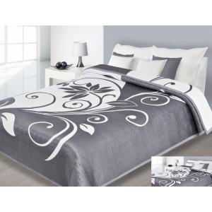 Přehoz na postel šedé barvy s bílými vzory
