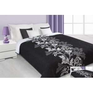 Přehoz na postel černé barvy s bílými květy