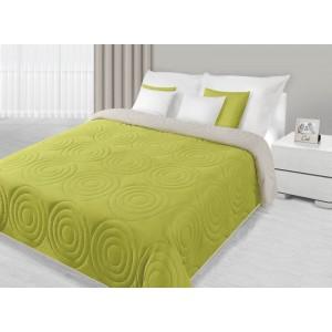Přehoz na postel zelené barvy s kruhovým prošíváním
