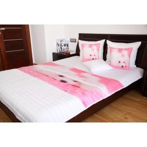 Růžovo smetanový přehoz pro děti s motivem pejska