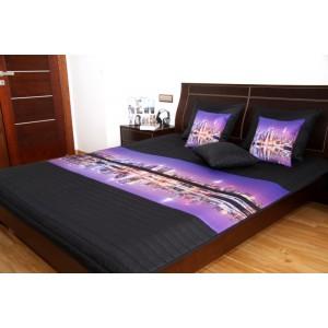 Fialově černý přehoz na dětskou postel s velkoměstem