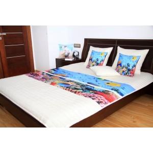 Modře krémové přehozy na dětské postele s potiskem mořského dna
