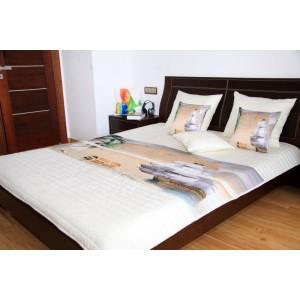 Béžovo smetanový přehoz na dětskou postel s lodí
