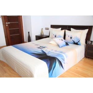 Bílý 3D přehoz na postel s motivem světlemodrých květů leknínu