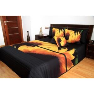 Přehoz na manželskou postel černé barvy se slunečnicemi