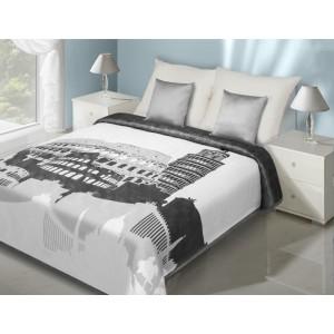 Přehoz na postel v bílo ocelové barvě s motivem kolosea a šikmé věže