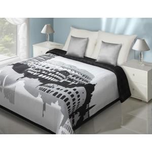 Bílo-černý přehoz na postel s motivem památek Říma