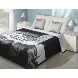 Černo-bílý oboustranný přehoz na postel s motivem města Řím