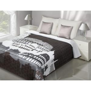 Hnědo-bílý přehoz na manželskou postel s motivem starořímských památek