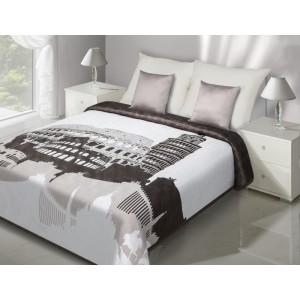Bílo-hnědý oboustranný přehoz na postel se šikmou věží v Pise, Vatikánem a koloseem