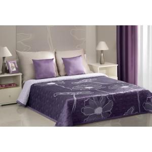 Přehozy na postel oboustranné ve fialové barvě s fialovo-šedými i květy