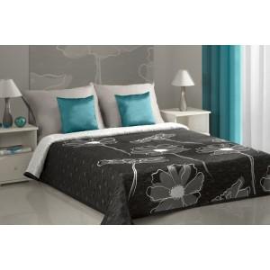 Oboustranné černé přehozy na manželskou postel s motivem šedo-bílých květů