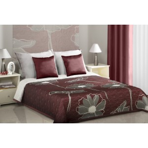 Vínové přehozy na manželskou postel s motivem rozkvetlých květů šedé barvy