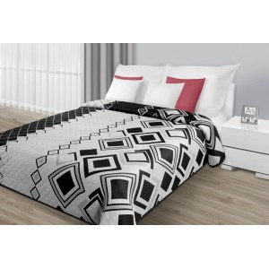 Bílo-černé přehozy na manželskou postel s geometrickým vzorem