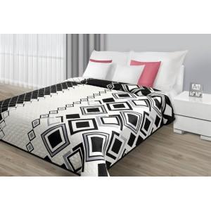 Přehozy bílo-černé oboustranné na postel s geometrickými vzory