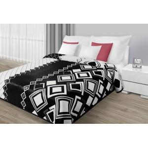 Přehozy oboustranné černobílé na postel s geometrickými vzory