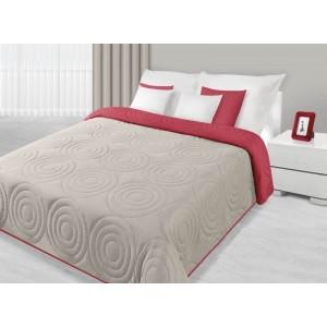 Béžovo bordový přehoz na postel s kruhovým prošíváním