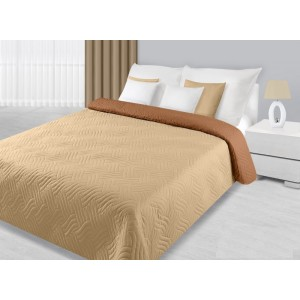 Krémově béžový oboustranný přehoz na postel s prošíváním