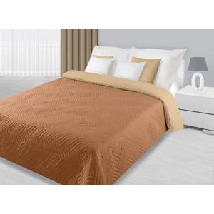 Oboustranný krémově hnědý přehoz na manželskou postel s prošíváním