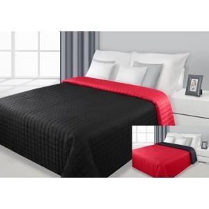 Černo-červený oboustranný prošívaný přehoz na manželskou postel