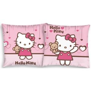 Světle růžový povlak na polštář s Hello Kitty s medvídkem