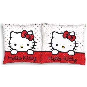 Měkký bílo-červený povlak na polštář s kočičkou Hello Kitty