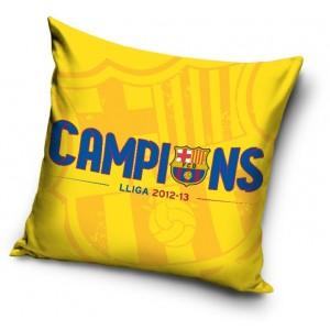Žlutý bavlněný fotbalový povlak na polštář s motivem FCB