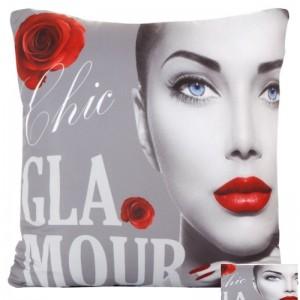 Šedý 3D povlak na polštářek GLAMOUR s tváří ženy