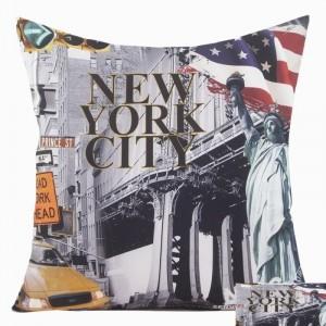 3D povlak na polštář New Yorku šedé barvy