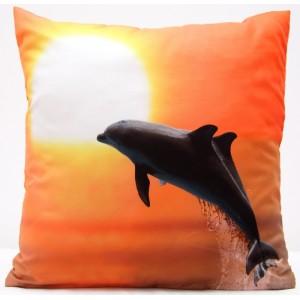 Oranžový povlak na polštář se skákajícím delfínům při západu slunce