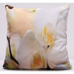 3D béžový povlak na polštář s bílými orchidejemi