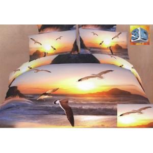 Bavlněné povlečení na postel létajícími racky u pobřeží moře