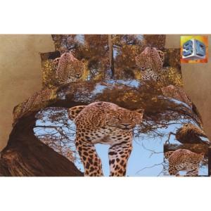 Bavlněné povlečení na postele s leopardem na stromě a modrou oblohou