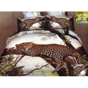 Bavlněné povlečení na postel s leopardem ležící na větvi stromu