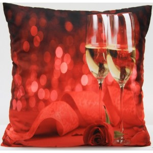Červené povlaky na polštář s růží a skleničkami vína 50 x 60cm