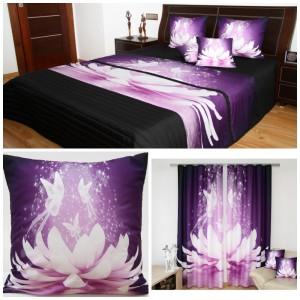 Černo-fialová 3D dekorační sada do ložnice s motivem létajících motýlů nad leknínem