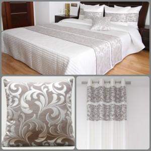 Bílá dekorační prošívaná sada do ložnice s ornamenty