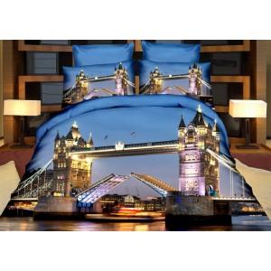 3D ložní povlečení modré s motivem London