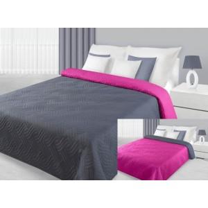 Oboustranný přehoz na postel růžovo šedé barvy