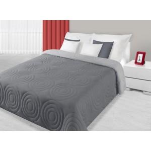 Šedý oboustranný přehoz na postel s prošívaným vzorem kruhů