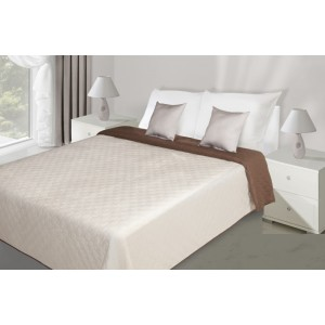 Béžovo hnědý oboustranný přehoz na postel