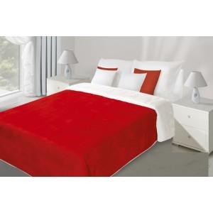 Oboustranný přehoz na postel červeno bílé barvy