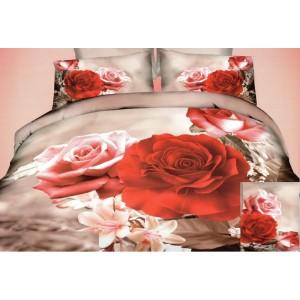 Béžové 3D povlečení na postel s motivem růží
