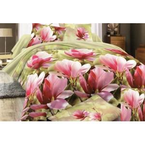 Povlak na postel zelený s růžovými květy