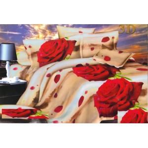Béžové povlečení na postel červená růže