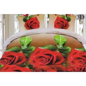 Povlak na postel béžové barvy s červenými růžemi