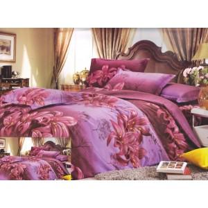 Růžovo fialový povlak na postel s květovým vzorem