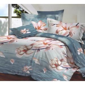 Modré povlečení na postel s béžovým květem