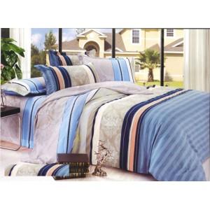 Pruhované béžovo modré povlečení na postel